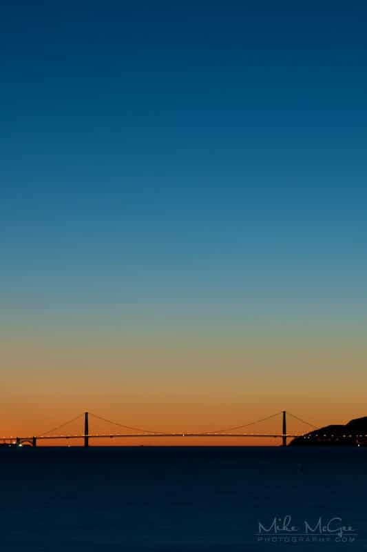 Sun setting over the Golden Gate Bridge taken from the Berkeley Marina