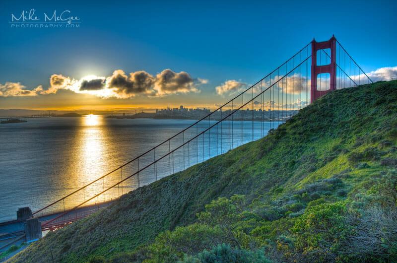 A blocked sunrise over the Golden Gate Bridge