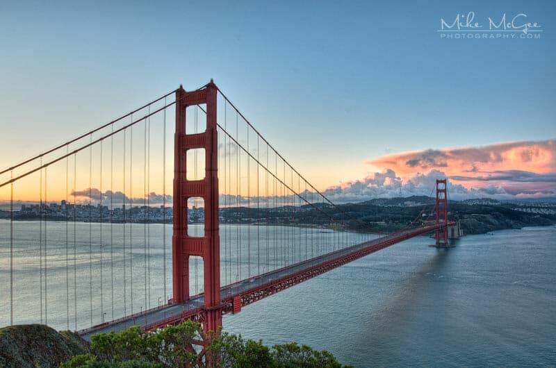 Pink Skies over the Golden Gate Bridge