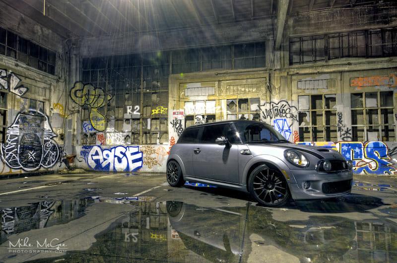 Mini Cooper S taken inside a graffiti garage
