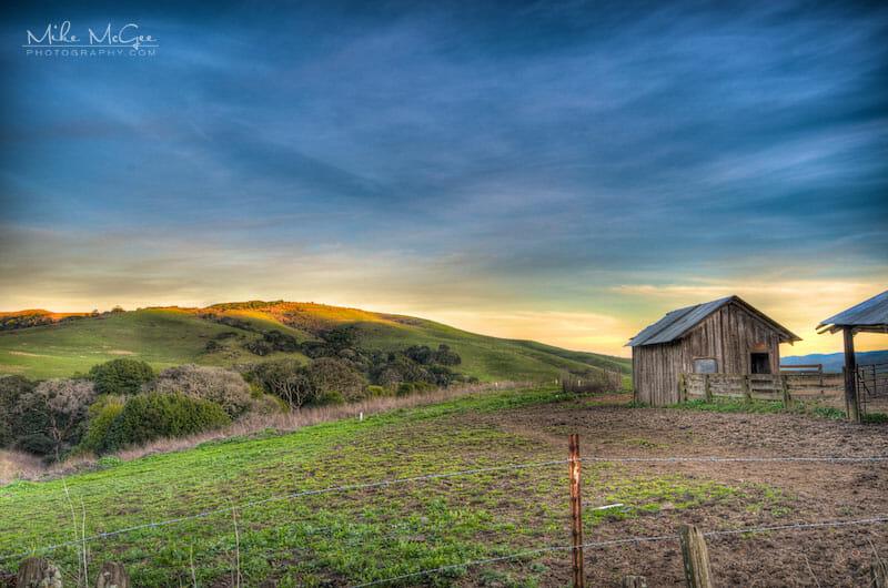 Rustic barn at sunset in Nicasio, California