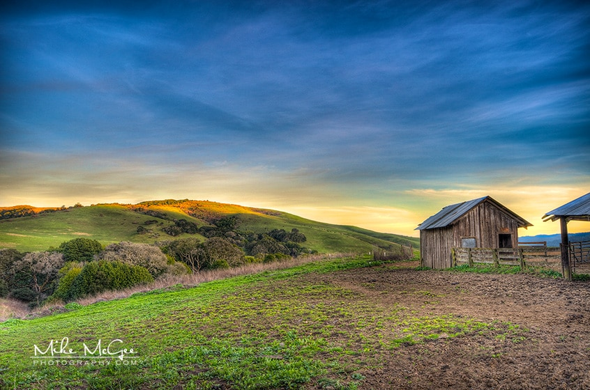 Barn in rolling hills taken at sunset in Nicasio, CA
