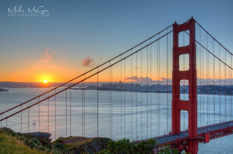 Sunrise over the Golden Gate Bridge's North Tower