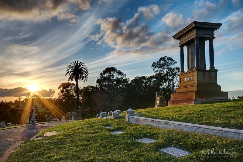 Prescott Tombstone taken at the Mountain View Cemetery in Oakland, California