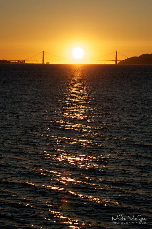 Sunset over the Golden Gate Bridge taken from the Berkeley Marina