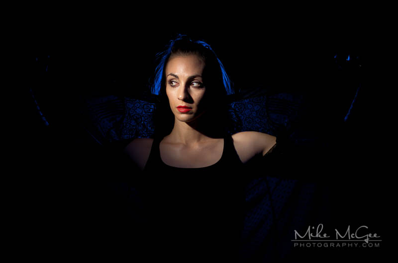 portrait image with colored gel lighting and two speedlights