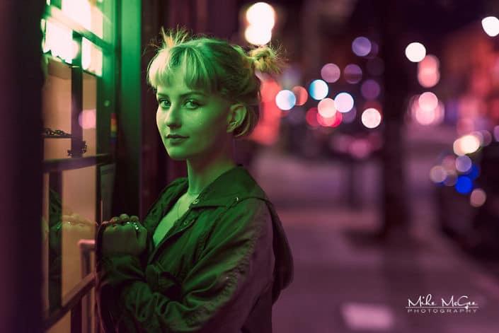 Zosha Model Night Neon Artistic Colored Gel Portrait Photographer