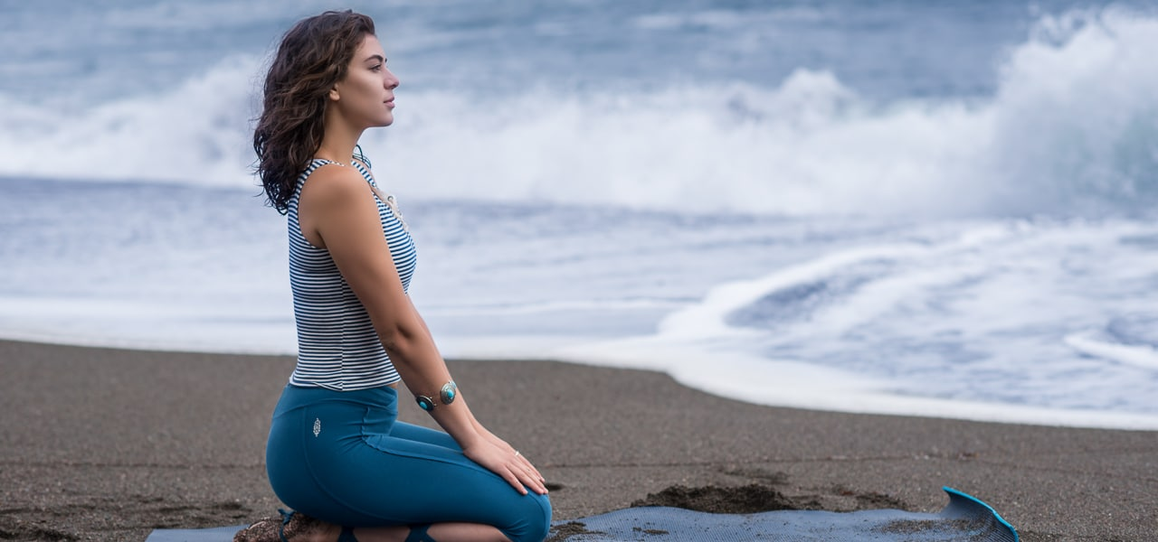 Saghar Yousafi beach yoga activewear photoshoot