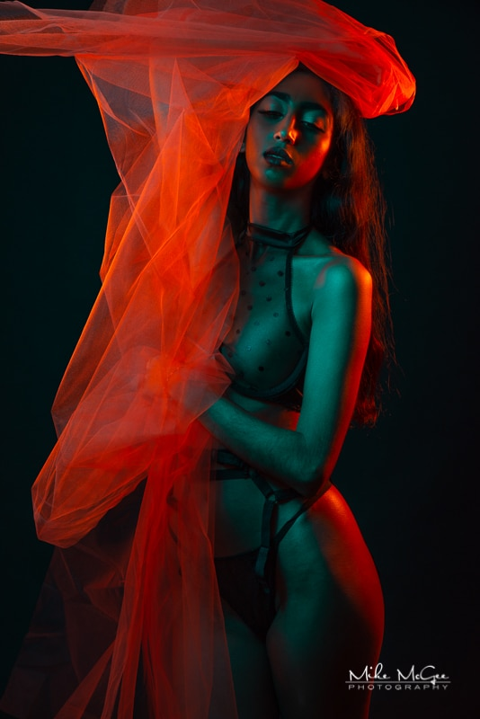Hypercolor colored gel artistic creative portrait photographer boudoir lingerie san francisco bay area