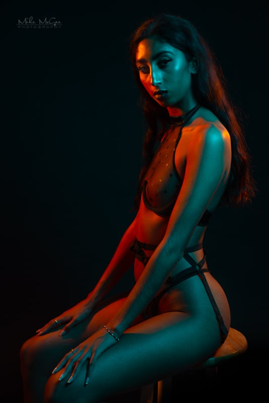 Hypercolor colored gel artistic creative portrait photographer boudoir lingerie san francisco bay area